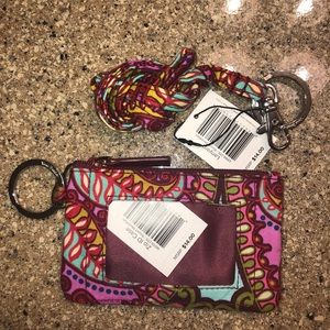 Vera Bradley Zip Id & Lanyard in Resort Medallion